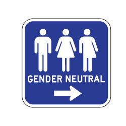 Outdoor Rated Aluminum Accessible Gender Neutral Restrooms Sign - Right Arrow - 12x12 - Reflective Rust-Free Heavy Gauge (.063) Aluminum Restroom Signs