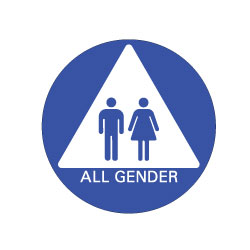 All Gender Ada Restroom Door Sign Pictograms On White Triangle 12x12