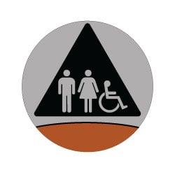 Signature Series Restroom Door Sign Wheelchair + Pictograms Restroom Door SIgn