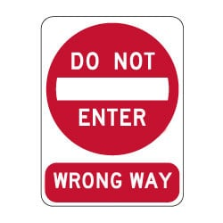 R5-1 Official MUTCD Do Not Enter/Wrong Way Road Signs - 18x24