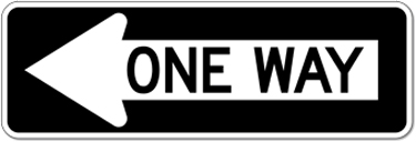 R6-1L One Way Left Arrow Signs - 36X12