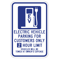 2 hour Limit 12x18 Electric Vehicle Parking Only Sign -  12x18 - available at STOPSignsAndMore.com