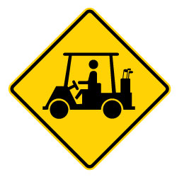 Golf Cart on Road Warning Signs - 30x30 - Official W11-11 MUTCD Reflective Heavy Gauge Rust-Free Aluminum Golf Cart Crossing Warning Signs