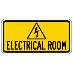 Electrical Room Sign with Symbol and Text - 12x6 - Non-Reflective rust-free aluminum signs