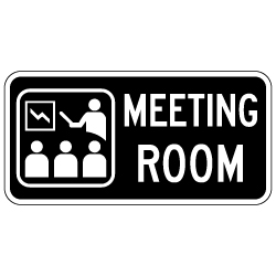 Meeting Room Sign with Symbol and Text - 12x6 - Non-Reflective rust-free aluminum signs
