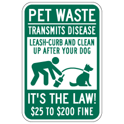 Pet Waste Clean Up After Your Dog Signs - 12x18