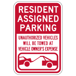 Resident Assigned Parking Tow Away Signs - 12x18