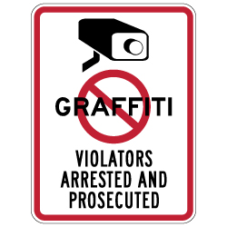 No Graffiti Symbol with Security Camera Violators Arrested and Prosecuted Sign - 18x24 - These Anti-Graffiti Surveillance Signs are Made with Reflective Rust-Free Heavy Gauge Durable Aluminum available at STOPSignsAndMore.com