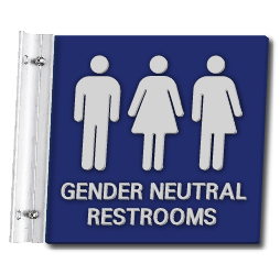 Flag Style Wall Mounted Gender Neutral Restroom Wall Sign - 10x10 - Made with Attractive Matte Finished Acrylic and Includes Polished Aluminum Wall Bracket and Hardware. Available at STOPSignsAndMore.com