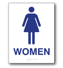 ADA Compliant Womens Restroom Wall Sign on White Rectangle with Tactile Text & Braille - 6x8 - Our ADA Restroom Signs meet regulations and will pass Title 24 building inspections.