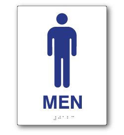 ADA Compliant Mens Restroom Wall Sign on White Rectangle with Tactile Text & Braille - 6x8 - Our ADA Restroom Signs meet regulations and will pass Title 24 building inspections.