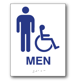 ADA Compliant Mens Restroom Wall Sign on White Rectangle with Wheelchair and Male Symbol - 6x8. Our ADA Restroom Signs meet regulations and will pass Title 24 building inspections