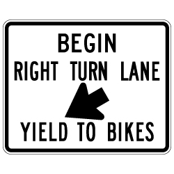 R4-4 Begin Right Turn Lane Yield to Bikes Sign - 30x24. Made with High Intensity Prismatic (HIP) Reflective Sheeting and Rust-Free Heavy Gauge Aluminum from STOPSignsAndMore.com