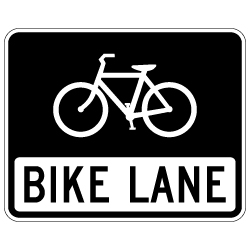R3-17 Bike Lane Sign - 30x24. Made with High Intensity Prismatic (HIP) Reflective Sheeting and Rust-Free Heavy Gauge Aluminum from STOPSignsAndMore.com