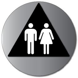 ADA Unisex Restroom Door Sign with Male and Female Symbols - 12x12 - Brushed Aluminum