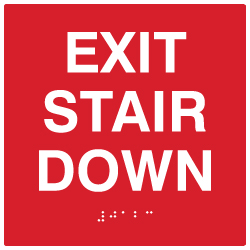 ADA Custom Color Exit Stair Down Signs with Tactile Text and Grade 2 Braille - 6x6