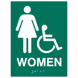ADA Compliant Accessible Womens Restroom Wall Signs - 6x8 - Custom Colors Available