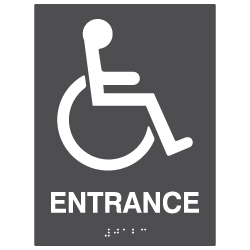 ADA Compliant Accessible Symbol Entrance Sign with Tactile Text and Grade 2 Braille - 6x8. Custom Colors availble from STOPSignsAndMore.com