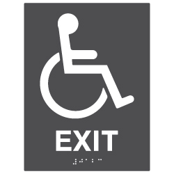 ADA Compliant Accessible Symbol Exit Sign with Tactile Text and Grade 2 Braille - 6x8. Custom Colors availble from STOPSignsAndMore.com