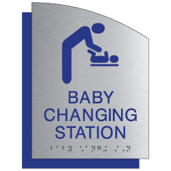 ADA Baby Changing Station Restroom Sign - Brushed Aluminum & Matte Acrylic | Tactile Text & Braille