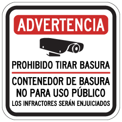 Spanish Warning No Dumping Dumpster Not For Public Use Sign - 12x12 - Made with 3M Reflective Rust-Free Heavy Gauge Durable Aluminum available at STOPSignsAndMore.com