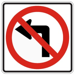 R3-2 No Left Turn Symbol Signs - 30x30 - Official MUTCD Reflective Rust-Free Heavy Gauge Aluminum Road Signs