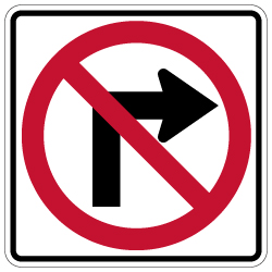 R3-1 No Right Turn Symbol Signs - 30x30 - Official MUTCD Reflective Rust-Free Heavy Gauge Aluminum Road Signs