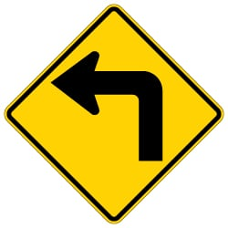 W1-1L Left Turn Ahead Warning Sign H.I.P. - 30x30 -Rust-Free Heavy Gauge Aluminum Road Sign