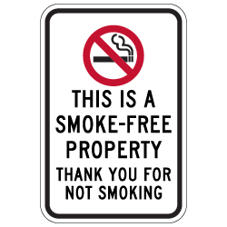 This is A Smoke-Free Property Sign - 12x18 - Made with Reflective Rust-Free Heavy Gauge Durable Aluminum available at STOPSignsAndMore.com