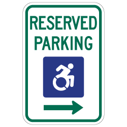 R7-8 New York Disabled Reserved Parking Signs - Right Arrow - 12x18 - Reflective Rust-Free Heavy Gauge Aluminum ADA Parking Signs
