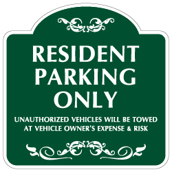 Mission Style Resident Parking Only Sign -18x18 - Made with 3M Reflective Rust-Free Heavy Gauge Durable Aluminum available for quick shipping from STOPSignsAndMore.com