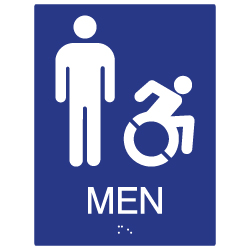 ADA Mens Restroom Wall Sign with Active Wheelchair Symbol - 6x8 - ADA Compliant Restroom Signs are high-quality and professionally manufactured right here in the USA!