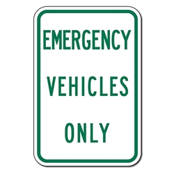 Emergency Vehicles Only Parking Sign - 12x18 - Reflective heavy-gauge aluminum Hospital Parking Lot Signs