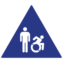 ADA Compliant and Title 24 Compliant Restroom Door Signs with Male and Active Wheelchair Symbol - 12x12