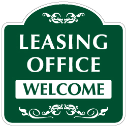 Mission Style Leasing Office Welcome Sign - 18x18 - Made with 3M Reflective Rust-Free Heavy Gauge Durable Aluminum available for quick shipping from STOPSignsAndMore.com