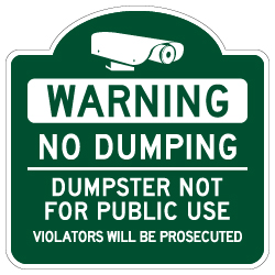 Mission Style No Dumping Dumpster Not For Public Use Sign - 18x18 - Made with Reflective Rust-Free Heavy Gauge Durable Aluminum available at STOPSignsAndMore.com
