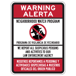 Bilingual Neighborhood Watch Sign - 18x24