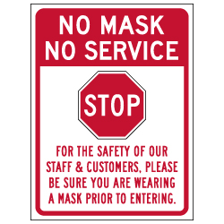 Window Decal - No Mask No Service - 6x8 (Pack of 3) - Digitally printed on rugged vinyl using outdoor-rated inks. Buy Public Health Safety Window Decals from StopSignsandMore.com