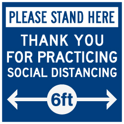 Floor Label - Social Distancing Please Stand Here - 12x12 (Pack of 3). Digitally printed on rugged low-tac vinyl using latex inks with a peel-off self-adhesive backing.