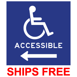 Label - Wheelchair Symbol with text Acessible with Left Arrow - 6x6