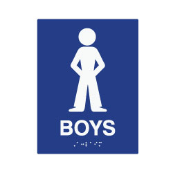 ADA Compliant Boys Restroom Wall Signs with Tactile Text and Symbol, and Grade 2 Braille - 6x8