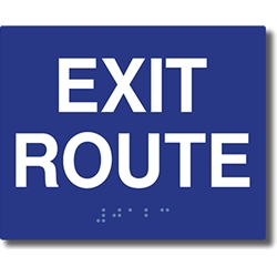 ADA Compliant Exit Route Signs with Tactile Text and Grade 2 Braille - 5x4