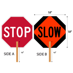 Hand-held STOP-SLOW Paddle signs - STOP Side is High Intensity Prismatic (HIP) Reflective, and SLOW side uses both HIP and Diamond Grade (DG3) Reflective. Sign is made with durable Light-Weight (.050) Aluminum